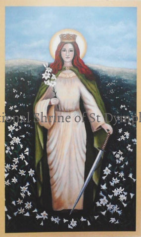 New Style St Dymphna Paper Prayer Card Cards