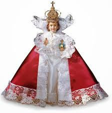"12"" Red Satin Infant of Prague Gown"
