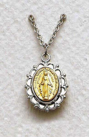Tuo-tone Miraculous Medal with Chain