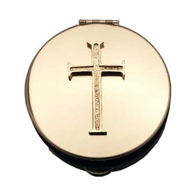 Small Polished Brass Pyx with Gold Cross