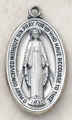 "Sterling Miraculous Medal with 24"" Chain"