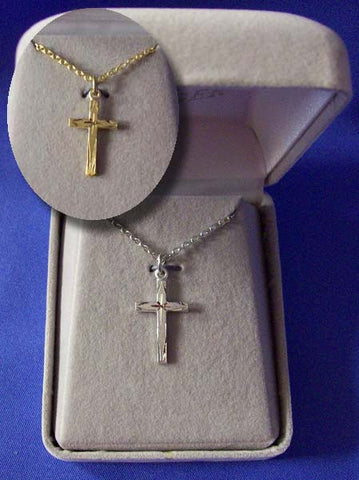 Etched Cross Necklace