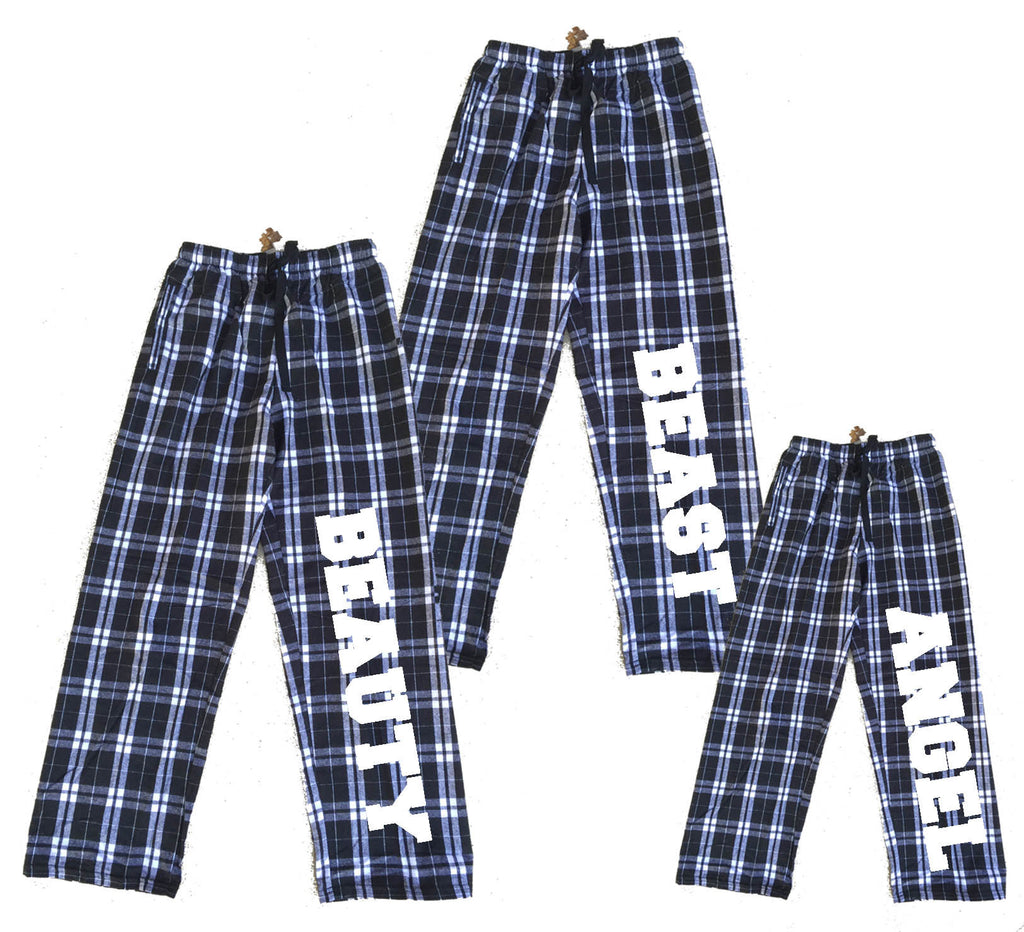 Personalized Black and White Flannel Pants for the Whole Family