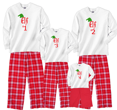 Holiday Red and White Elf #1, #2, #3, etc. Christmas Family Matching Sets