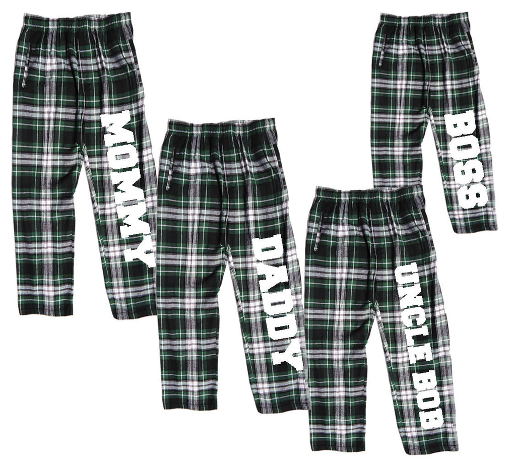 Personalized Green and White Flannel Pants for the Whole Family