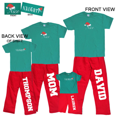 Naughty or Nice? 2 Sided Matching Family Holiday Red Pant Sets