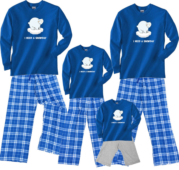 """I Need A Snowday"" Matching Family Winter Flannel Pant Sets"