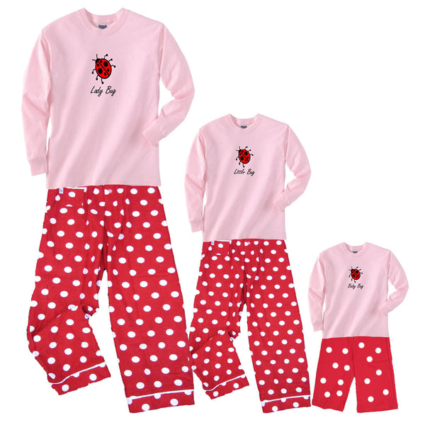 Lady Bug, Little Bug, Baby Bug Mother Daughter Matching Polka Dot Pant Sets