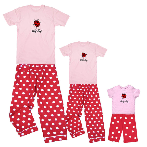 Mother Daughter Matching Lady Bug, Little Bug, Baby Bug Outfits