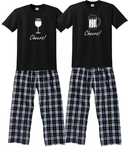 3780f5ab12c2 WINE GLASS or BEER MUG Matching Couples Pajamas