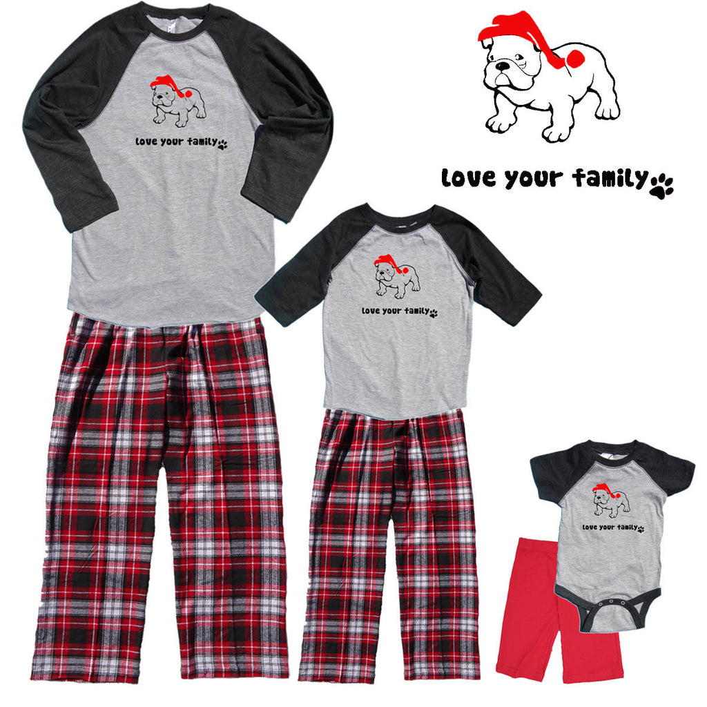 e1fcd750e Christmas Bull Dog Family Matching Baseball Shirt Flannel Pant Sets