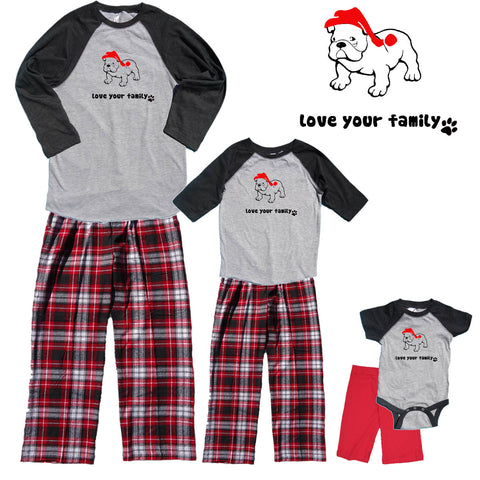 Christmas Bull Dog Family Matching Baseball Shirt Flannel Pant Sets