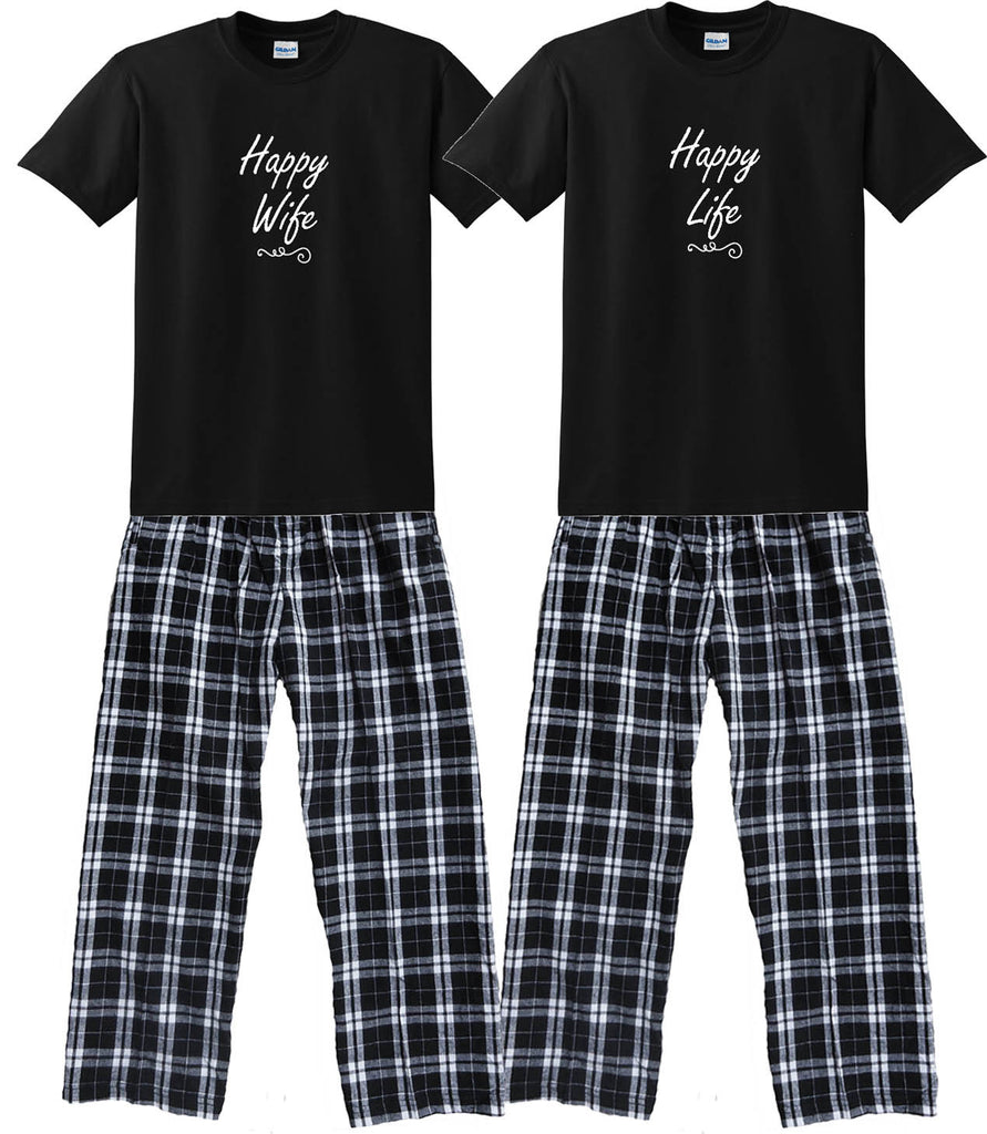HAPPY WIFE & HAPPY LIFE  Matching Couples Pajamas