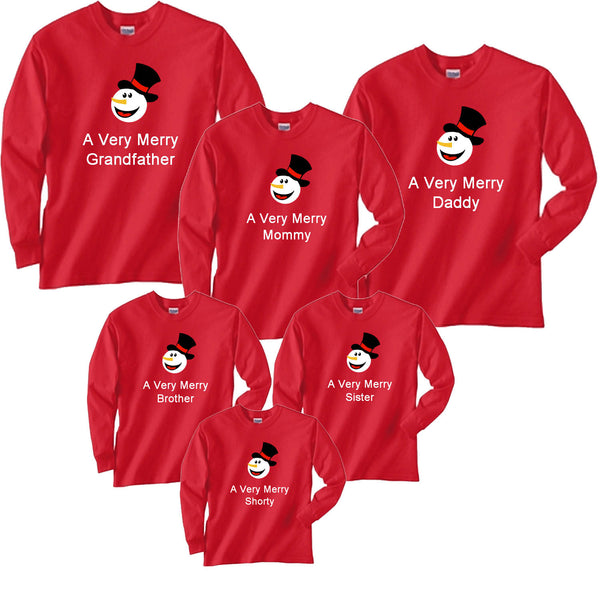 Personalized A Very Merry Snowman Family Matching Christmas Shirts