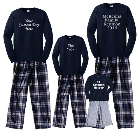 Design Your Own CUSTOM TEXT Family Matching Sets in Navy