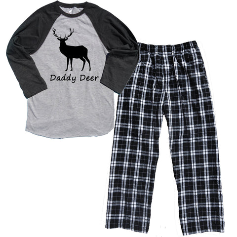 DADDY DEER Baseball Shirt Flannel Pajama Set