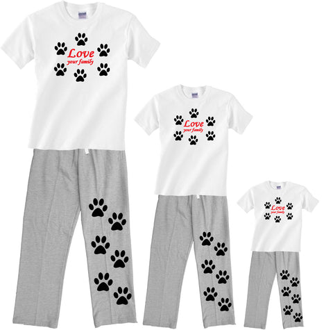 Love Your Family DOG PAWS Matching Pant sets for the Whole Family