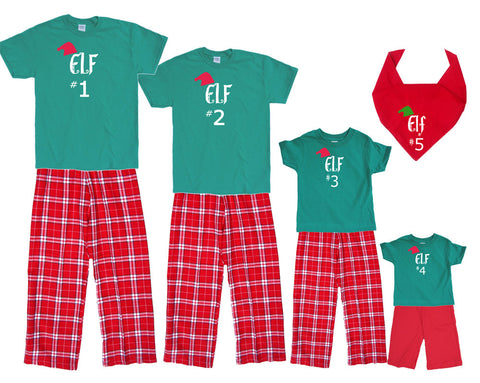 Elf #1, #2, #3, etc Christmas Matching Tee and Pant Sets for the Whole Family