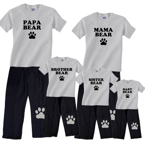 Bear Family Matching Tee and Pant Sets - Mama, Papa, Baby, More