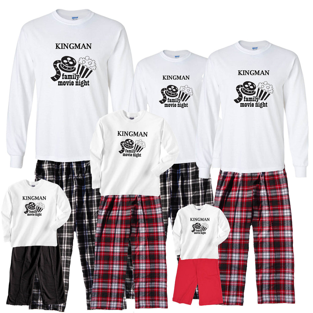 Personalized Family Movie Night Pant Sets in Red or Black for Whole Family