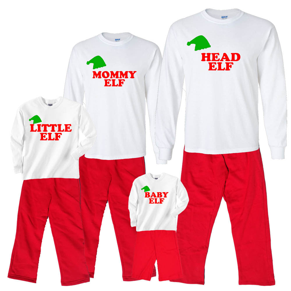 elf family matching holiday red outfits sizes for whole family