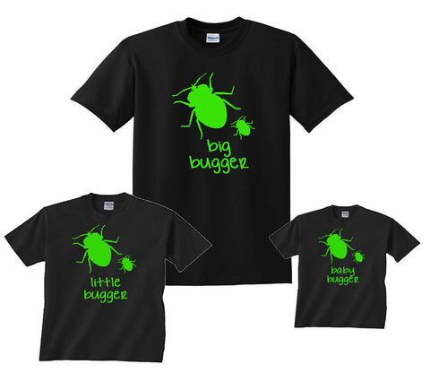 5543aacc BIG BUGGER, LITTLE BUGGER, BABY BUGGER Matching Father Son T-Shirts
