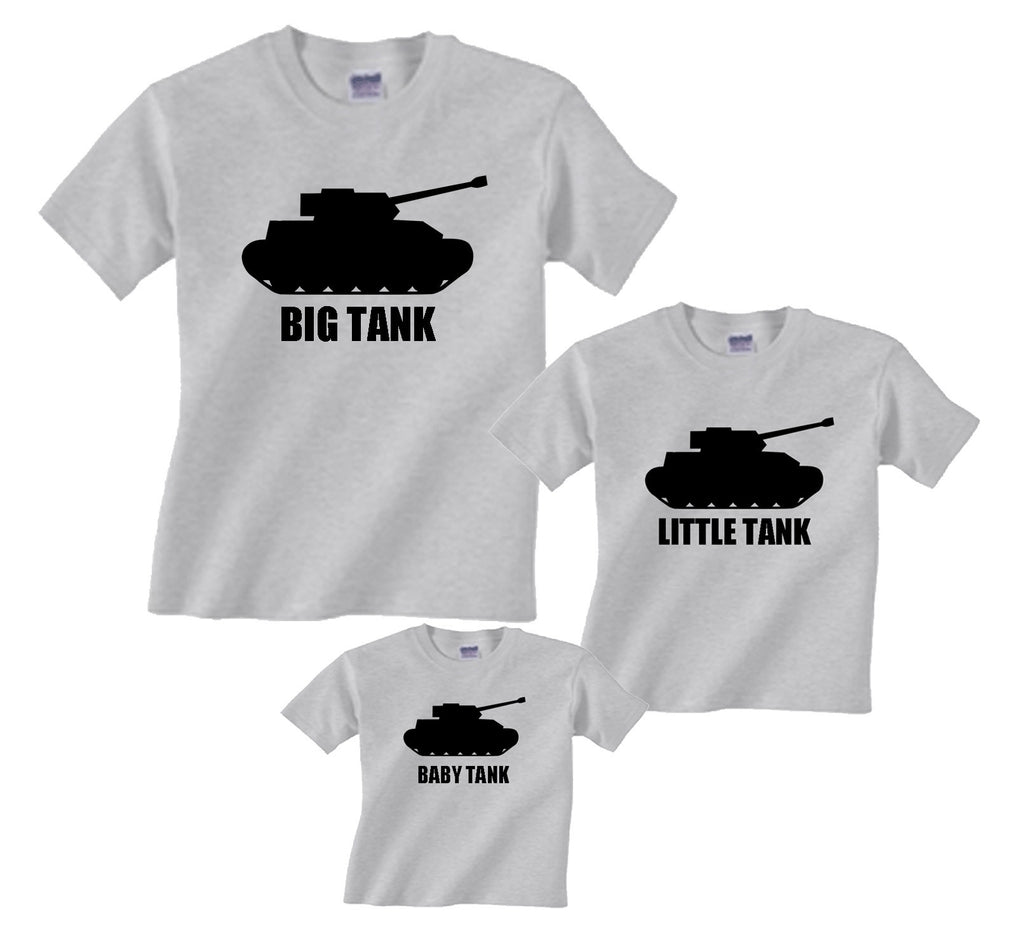 f6889c0e BIG TANK, LITTLE TANK, BABY TANK Father Son Matching T-shirts or Siblings