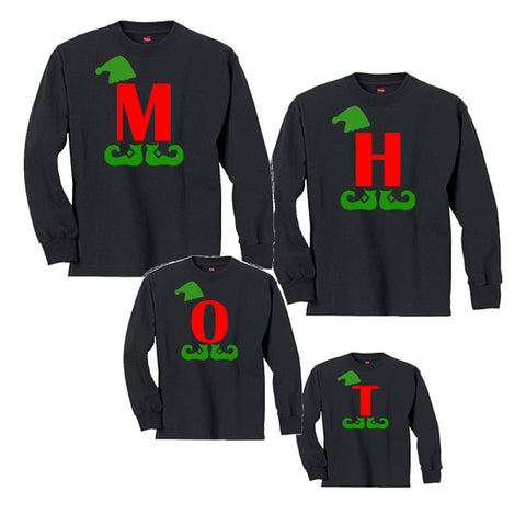 Giant Elf Letter Family Matching Christmas Shirts Personalized Black and Red