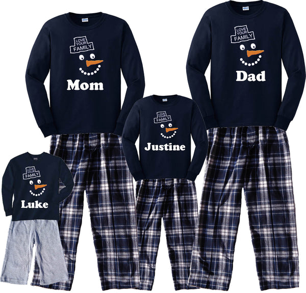 Personalized Happy Snowman Family Matching Winter Pajamas & Kids Playwear Sets