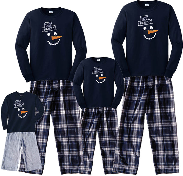 Happy Snowman Matching Winter Pant Sets