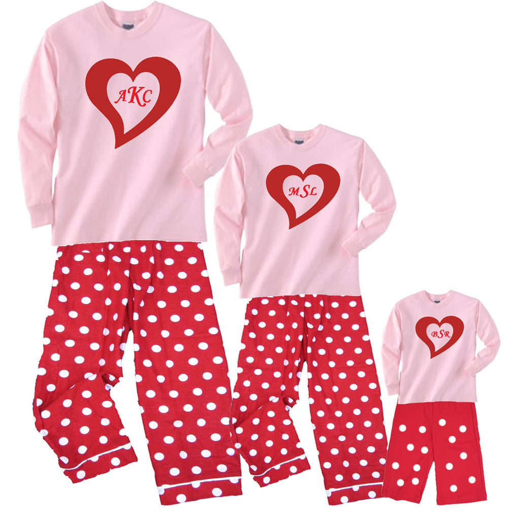 Monogram Red Heart LOVE DAY Mother Daughter Baby Matching Red Polka Dot Sets