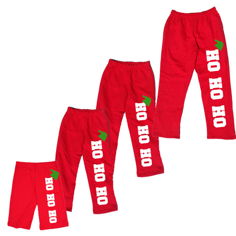 HO HO HO with Elf Hat Red Plush Pants for the Whole Family