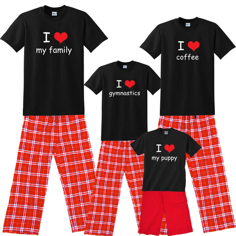 I Heart 'Personalized Text' Family Matching Shirt and Pant Sets