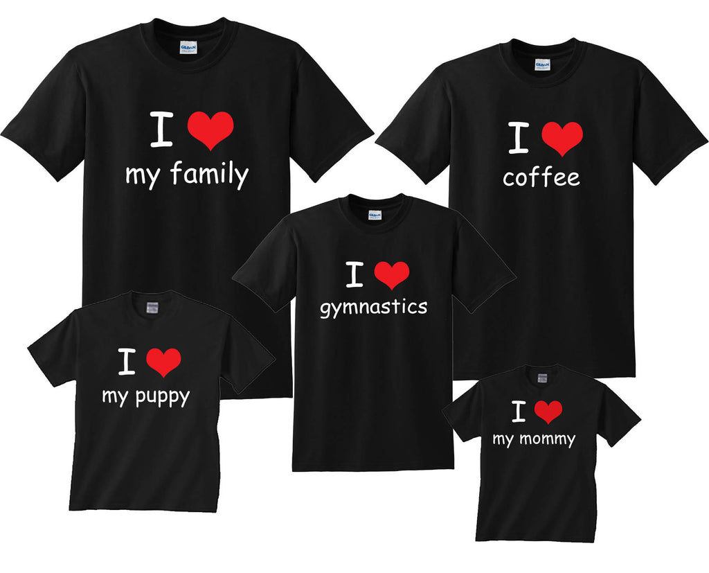 Custom I 'HEART' Personalized Family Matching Shirts