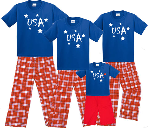Red, White & Blue USA Family Matching Clothing Sets