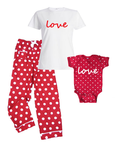 LOVE Red Polka Dot Matching Mommy Pajamas with Baby Onesie