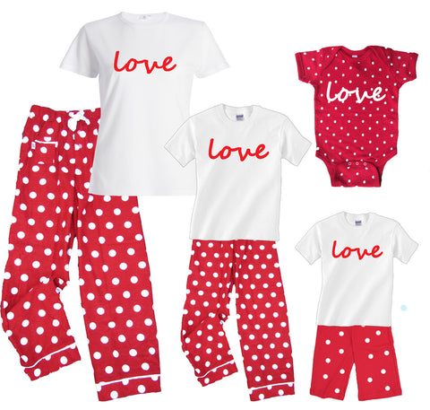 LOVE Red Polka Dot Matching Mother Daughter Outfits and Baby Onesie