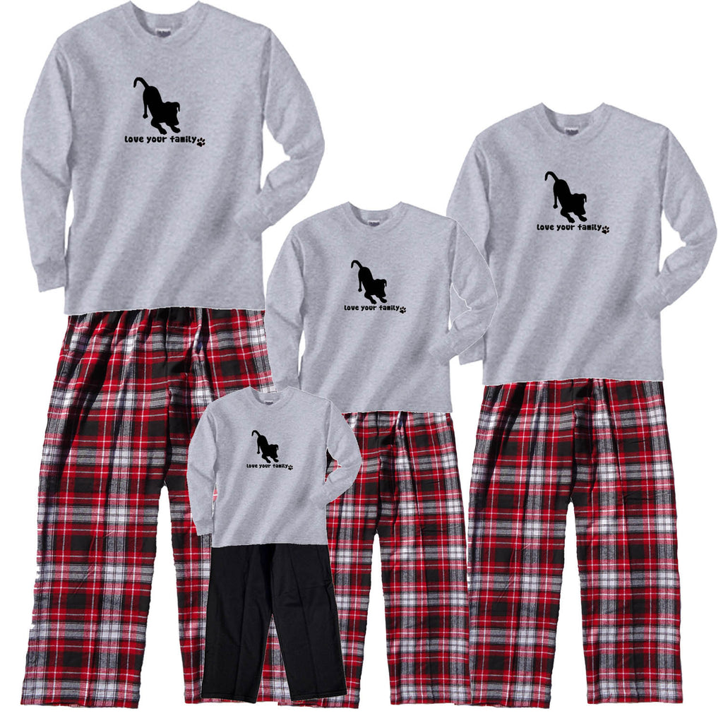 Love Your Family Dog Family Cozy Flannel Outfits