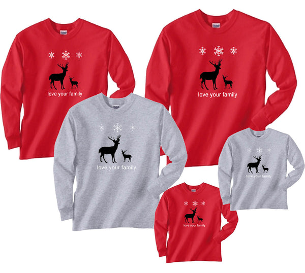 Matching Christmas Shirts For Family.Classic Nordic Reindeer Family Holiday Shirts
