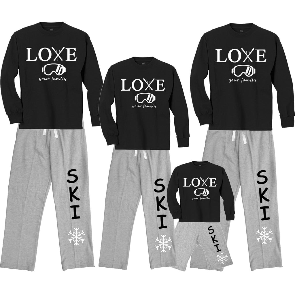 Love Your Family Ski Trip Matching Fleece Pant Outfits