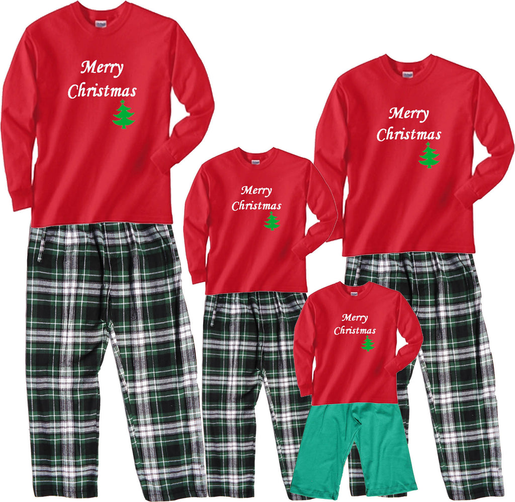 Merry Christmas Green Tree Matching Family Outfits - All Sizes