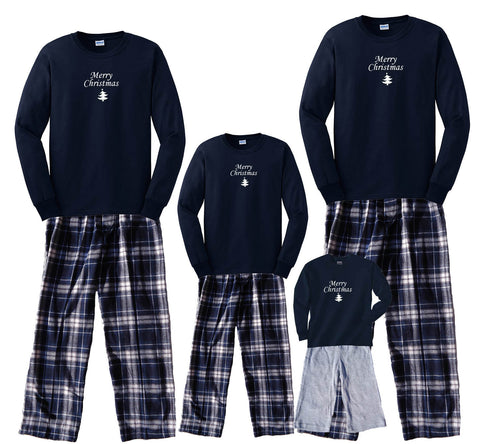 """Merry Christmas"" Matching Classic Family Sets in Navy - All Sizes"