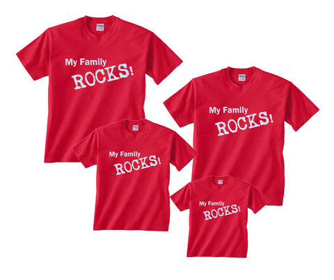 My Family Rocks! Matching T-Shirts in sizes for Whole Family