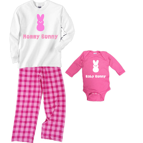 Personalized Bunny Mommy Pajamas and Matching Baby Onesie