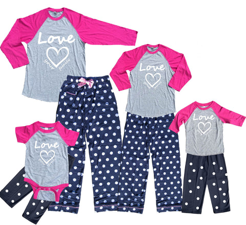 Pretty Pink Heart Mother Daughter Matching Polka Dot Pant Sets