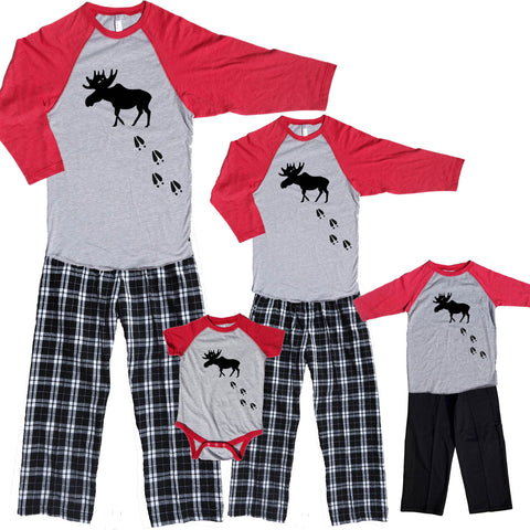 Moose Tracks Family Matching Baseball Shirt Flannel Pant Sets