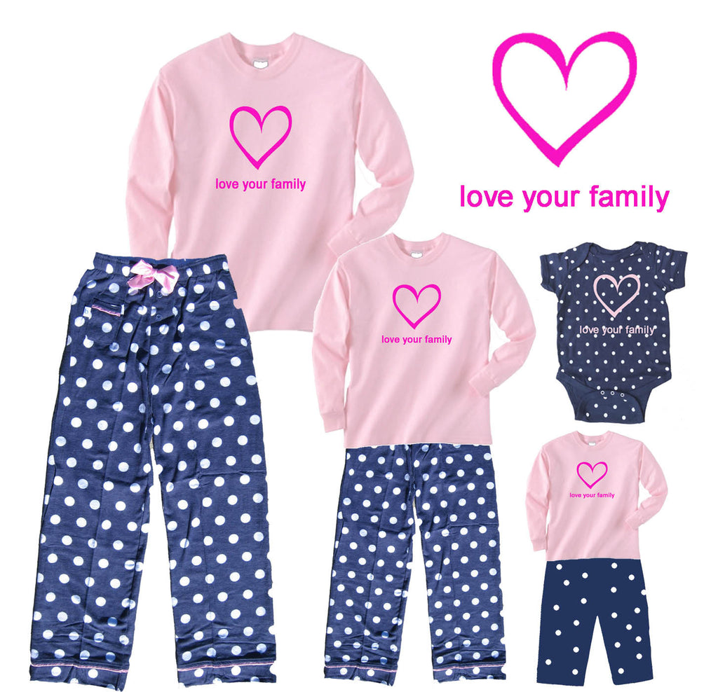 Sweet Snuggles Pink Heart Mother Daughter Polka Dot Outfits