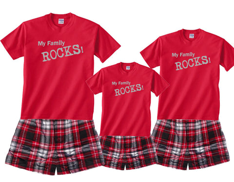 My Family Rocks! Matching Boxer Short Pajama Sets