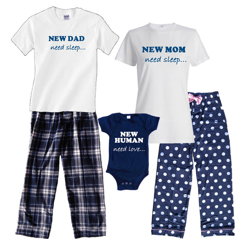 New Mom & Dad, Need Sleep Pajamas & New Human Need Love Matching Baby Onesie