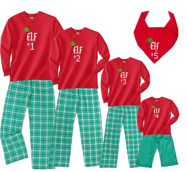 Elf #1, #2, #3, etc. Christmas Family Matching Sets